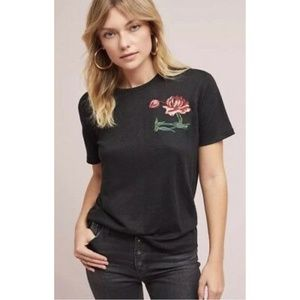 Anthropologie TINY Rona Floral Embroidered T-Shirt
